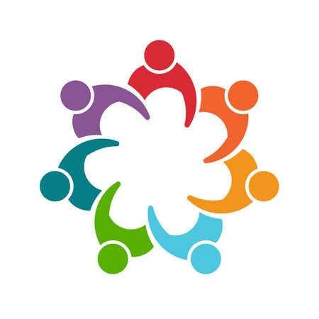 Photo pour People man logo. Group of seven persons - image libre de droit