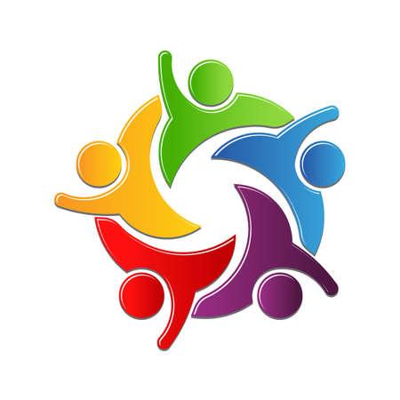 Ilustración de Teamwork culture of work in circle. logo design - Imagen libre de derechos