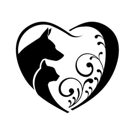 Illustration pour Dog and Cat love heart. Vector graphic - image libre de droit