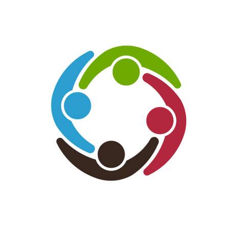 Illustration pour Team people group energizing each other. Vector graphic design - image libre de droit