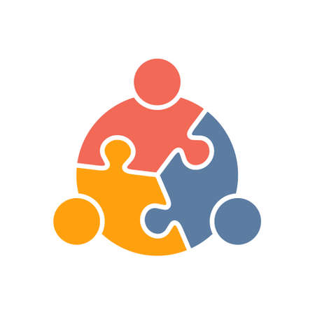 Illustration for Teamwork People puzzle three pieces. Vector graphic design illustration - Royalty Free Image