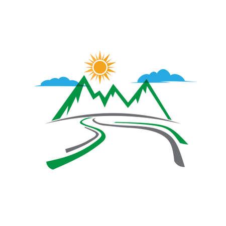 Illustration pour Mountain country road logo. Vector graphic design - image libre de droit
