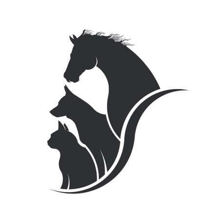Ilustración de Horse, Dog, Cat Animal Lover Illustration - Imagen libre de derechos