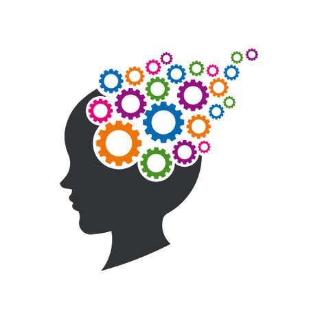 Ilustración de Kid Brain with Gears. Concept of Mental Thinking. Vector Illustration - Imagen libre de derechos