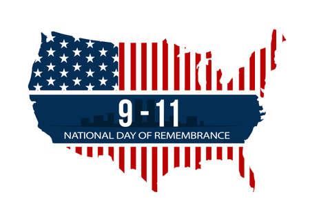 Illustration pour 9/11 National Day of Remembrance, September 11, 2001, vector illustration. - image libre de droit