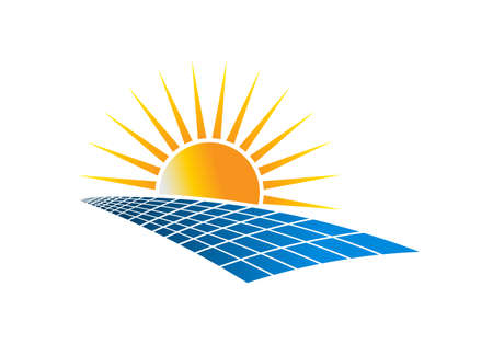 Ilustración de Solar Power Energy Logo Vector Illustration in white background - Imagen libre de derechos
