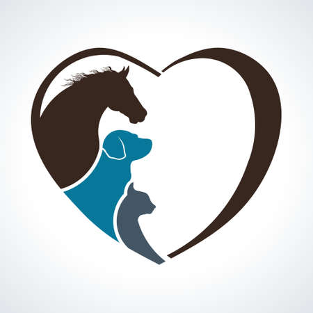 Illustration pour Veterinarian Heart Animal Love. Horse,Dog and Cat Together - image libre de droit