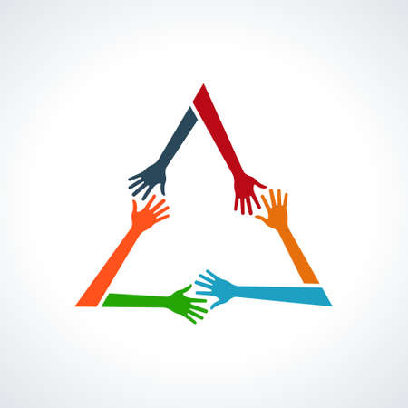 Vector Multiracial Human Hands in a Triangle. Concept of Helping Each Other
