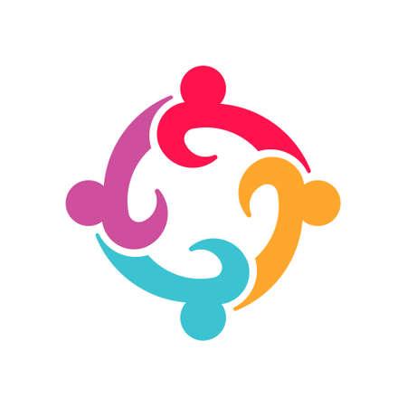 Ilustración de Four Entrepenurs teamwork people logo design - Imagen libre de derechos