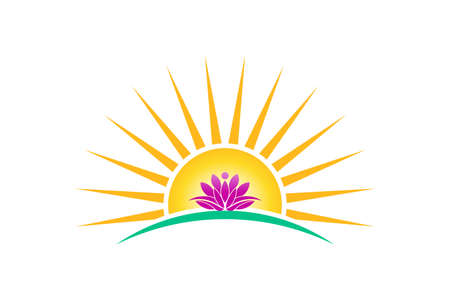 Illustration for Lotus plant in sunrise logo vector image. lotus person, purity concept - Royalty Free Image