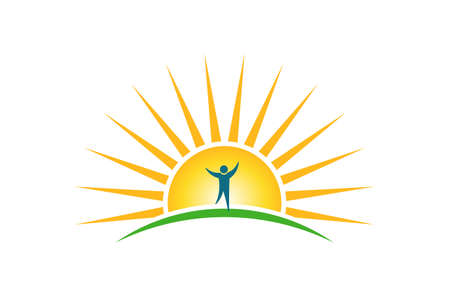 Illustration for Happy People in sunshine morning logo. Hope and strength concept - Royalty Free Image
