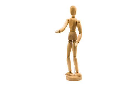 wooden man puppet stand on white background stretching a hand