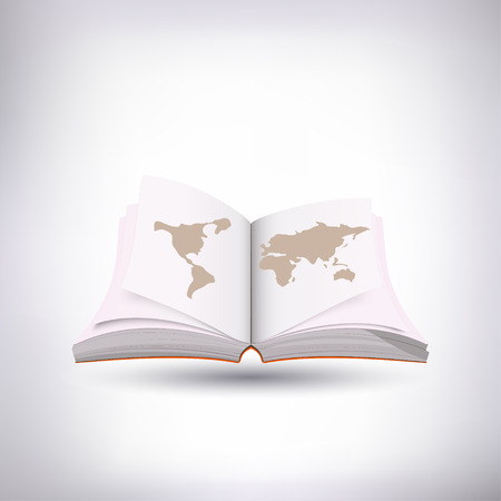 Illustration pour Open book with shadow on white background. With a map of the world on it. Vector. - image libre de droit