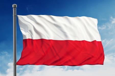 Flag of Poland on blue sky background