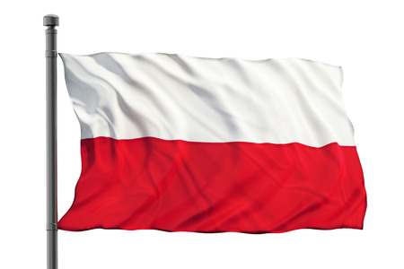 Flag of Poland isolated on white background