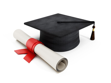 Photo pour Mortar board and diploma isolated on white  - image libre de droit