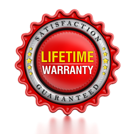 Lifetime warranty stamp isolated on white background.