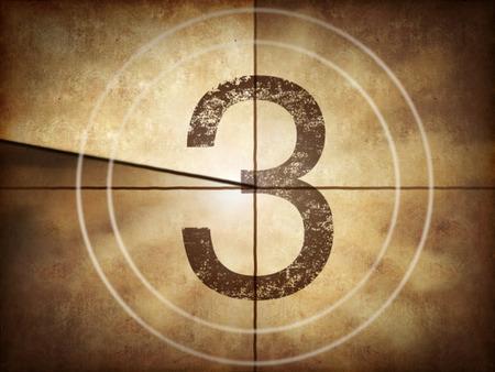Photo pour Old movie countdown with number 3 - image libre de droit
