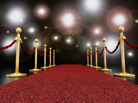 Red carpet at night with flashes concept