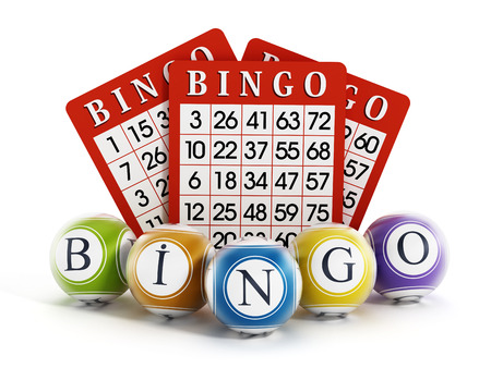 Bingo balls and cards isolated on white background.