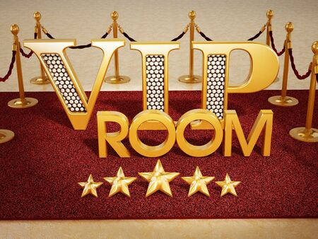 VIP room text and five stars on red carpet