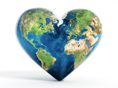 Photo pour Heart shaped earth isolated on white background - image libre de droit