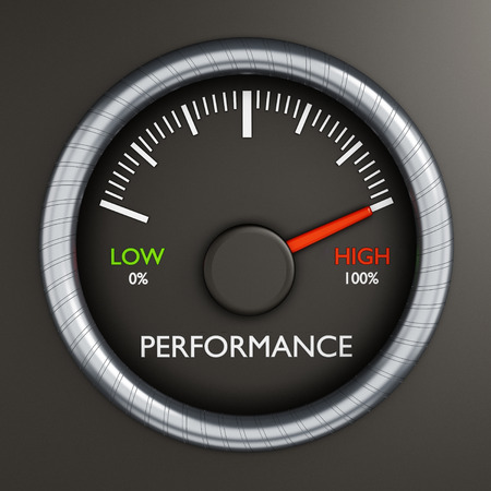 Photo pour Performance meter indicates high performance - image libre de droit