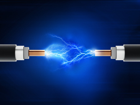 Power cables with sparkles on blue background