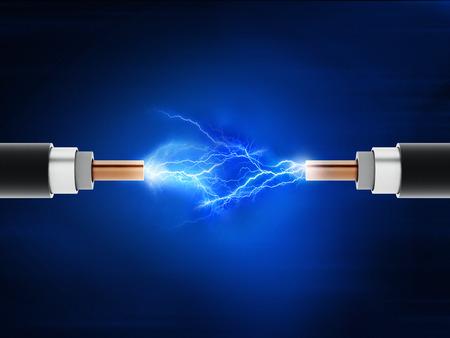 Photo pour Power cables with sparkles on blue background - image libre de droit