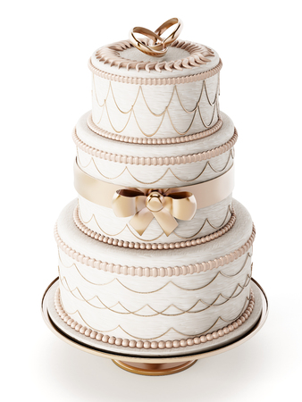 Foto de Wedding cake isolated on white background - Imagen libre de derechos