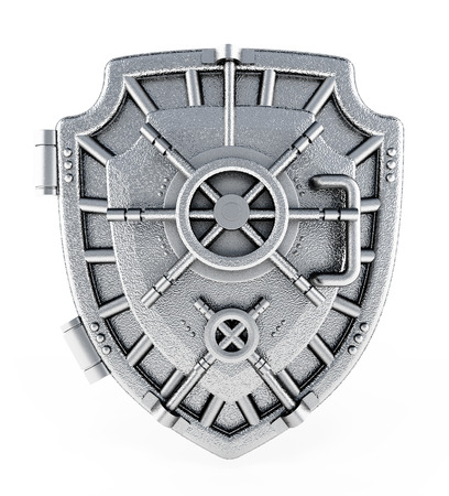 Metal vaulted door with shield shape