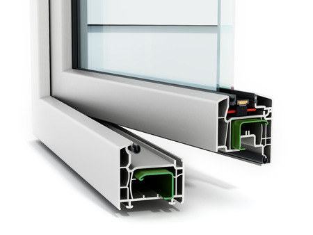 Photo pour PVC window detail isolated on white background - image libre de droit