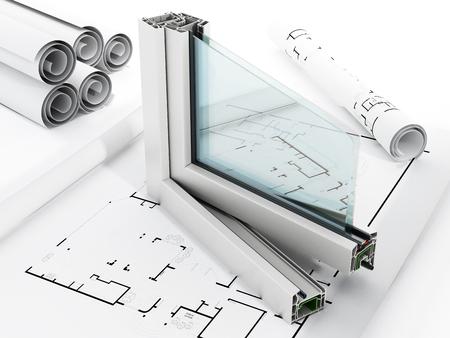 Foto de PVC window detail isolated on white background - Imagen libre de derechos