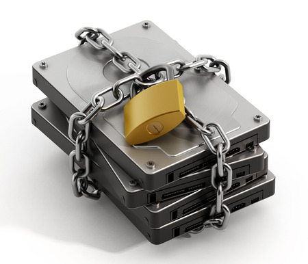 Photo pour Hard drive wrapped with chain and secured with a padlock - image libre de droit