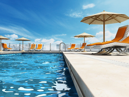 Photo pour Swimming pool built on the rooftop of a building. - image libre de droit