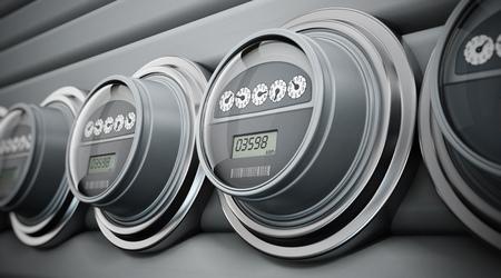 Photo pour Gray electric meters standing in a row - image libre de droit