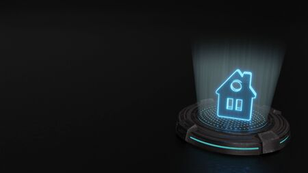blue stripes digital laser 3d hologram symbol of house with roof circular window render on old metal sci-fi pad background