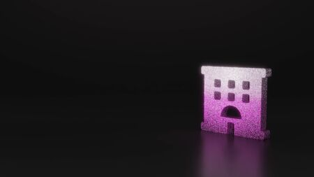 glitter pink silver symbol of hotel building 3D rendering on black background with blurred reflection with sparkles