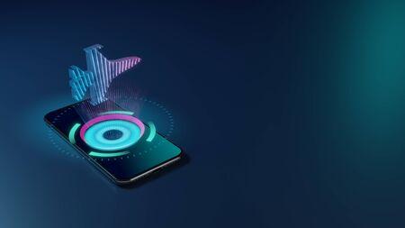 Photo for 3D rendering smartphone with display emitting neon violet pink blue holographic symbol of fighting falcon fighter jet icon on dark background with blurred reflection - Royalty Free Image
