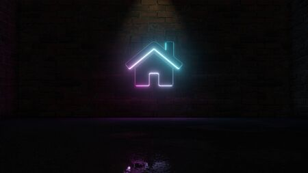 3D rendering of blue violet neon symbol of home with door and chimney on dark brick wall background with wet blurred reflection