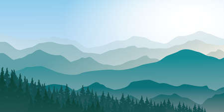 Tranquil mountain range scenery landscape with pines forest, foggy morning vector illustration.