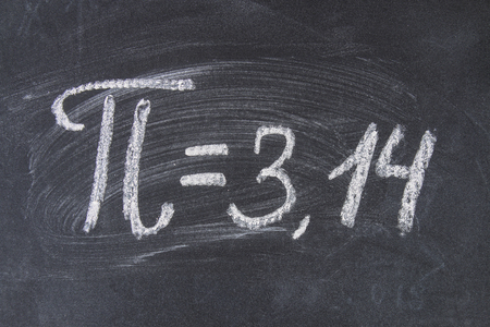 The mathematical sign or symbol for Pi on a blackboard