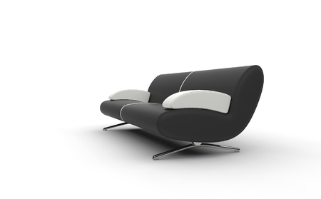 Black Sofa With White Armrests