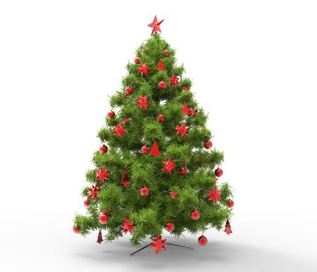 Photo pour Christmas Tree With Red Decorations - image libre de droit