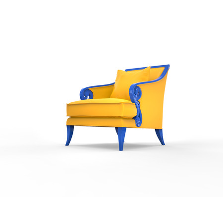 Yellow armchair with blue armrests