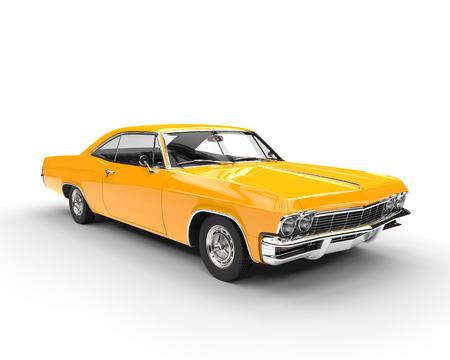 Photo pour Classic muscle yellow car - studio lighting shot - image libre de droit