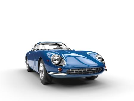 Photo pour Blue vintage sports car - front view - isolated on white background - image libre de droit
