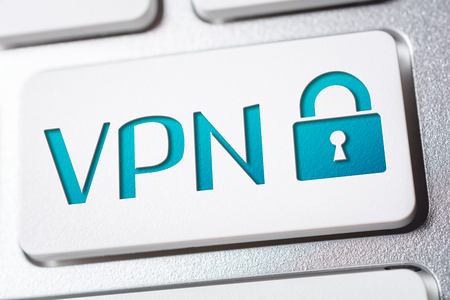 Photo pour Macro Of The Word VPN With A Lock Security Icon On A Keyboard Button - image libre de droit