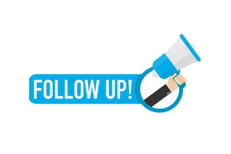 Illustration pour Hand holding megaphone - Follow up! Vector stock illustration. - image libre de droit