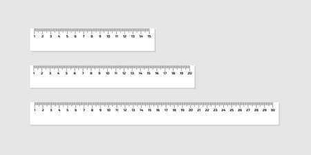 Illustration pour Set of wooden rulers 15, 20 and 30 centimeters with shadows isolated on white. Measuring tool. School supplies. Vector stock illustration. - image libre de droit